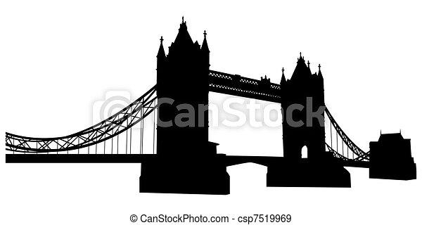 Bridge tower silhouette - csp7519969