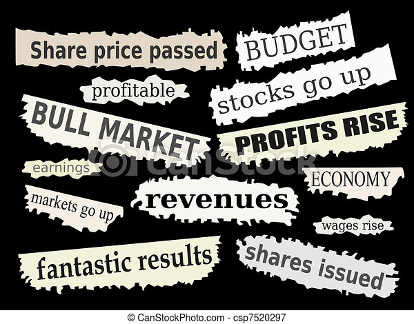 Vectors Illustration of Financial news - Newspaper cuttings and ...