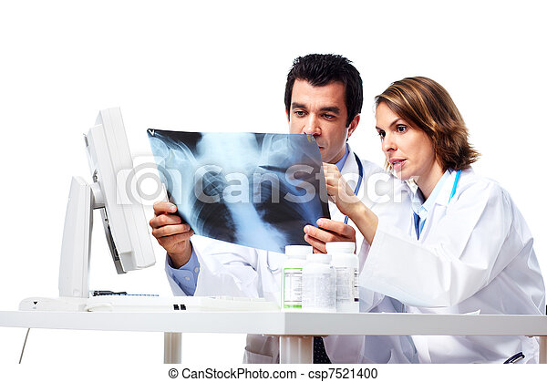 Medical doctors with x-ray. - csp7521400
