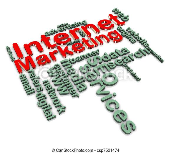 3d internet marketing wordcloud - csp7521474