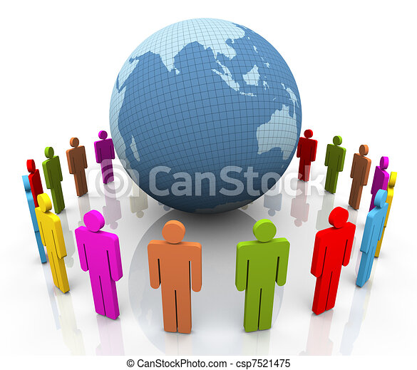 3d people around globe - csp7521475