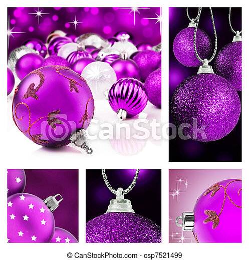 Collage of purple  christmas decor - csp7521499