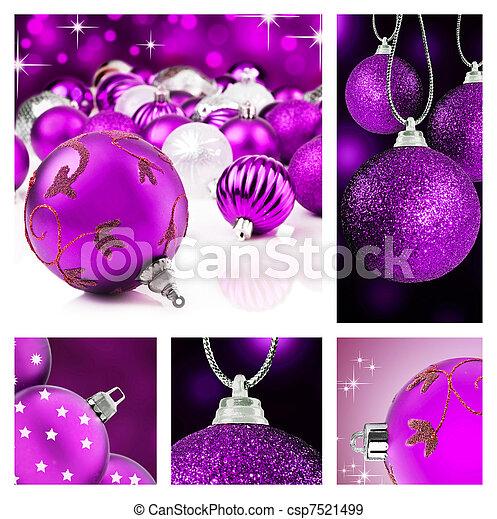 Collage of purple  christmas decor - csp7521499