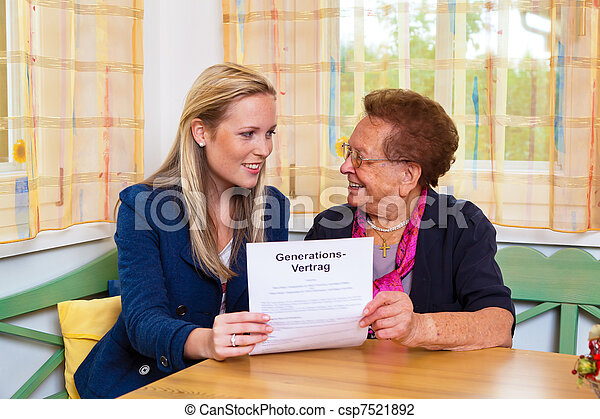 grandchild and grandmother. generation contract - csp7521892