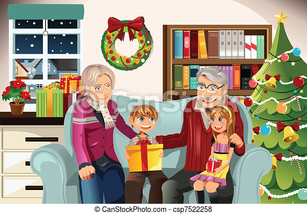 Vector of Grandparents and grandchildren on Christmas time - A ...