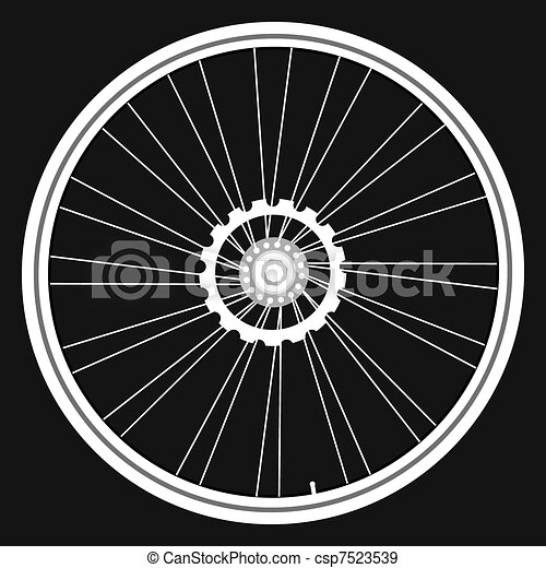 自転車 車輪, 黒, 隔離された, カードベクトル