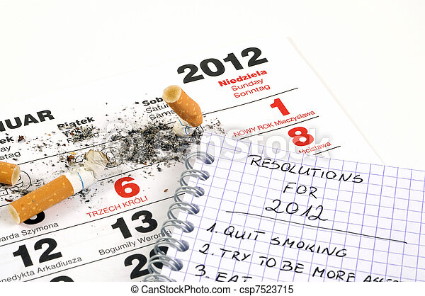 New Year's resolutions - quit smoking - csp7523715