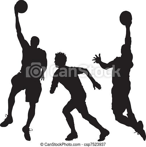 three men playing basketball - csp7523937