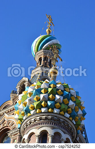 Domes of Church of the Savior on Blood - csp7524252