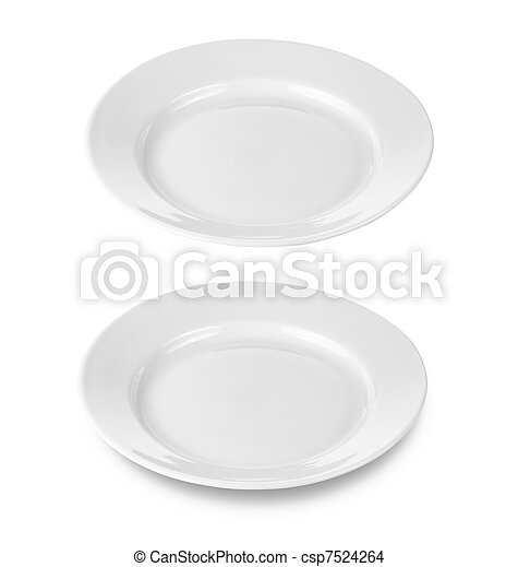 round plate or dishe isolated on white with  included - csp7524264