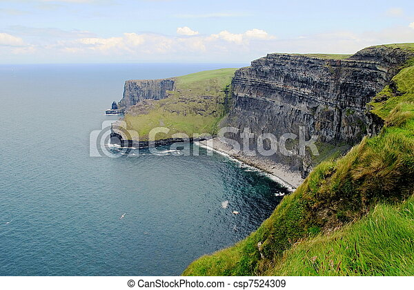 high cliff at precipice on the North Sea in Ireland - csp7524309
