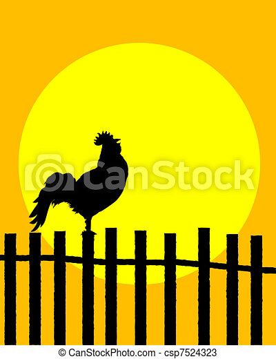 Rooster on the fence - csp7524323