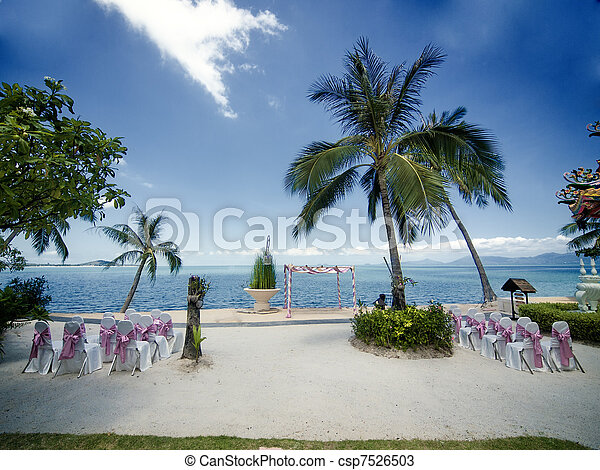 Wedding ceremony on a beach - csp7526503
