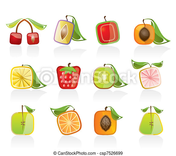 Abstract square fruit icons - csp7526699