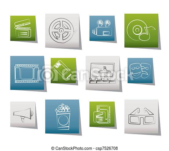 Movie theatre and cinema icons  - csp7526708