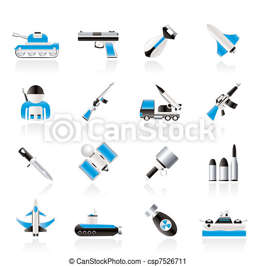 Army, weapon and arms Icons - csp7526711