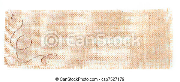sackcloth tags with decor over white - csp7527179
