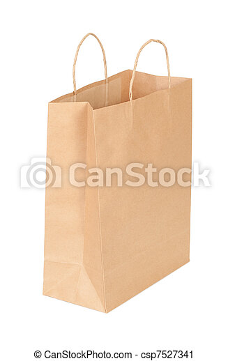 shopping paper bag isolated on white background - csp7527341