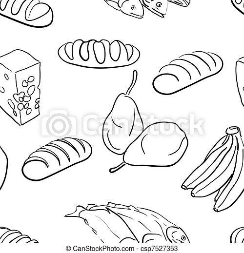 seamless pattern-hand drawn food - csp7527353
