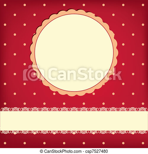 Vector greeting retro background with frame and polka dots - csp7527480