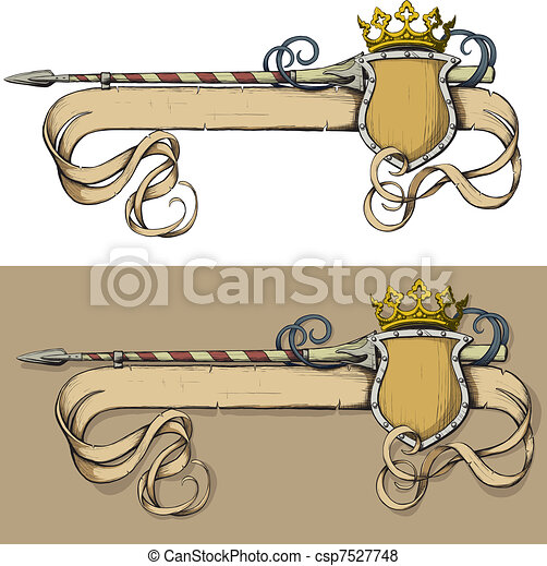 Color Banner spear and crown - csp7527748