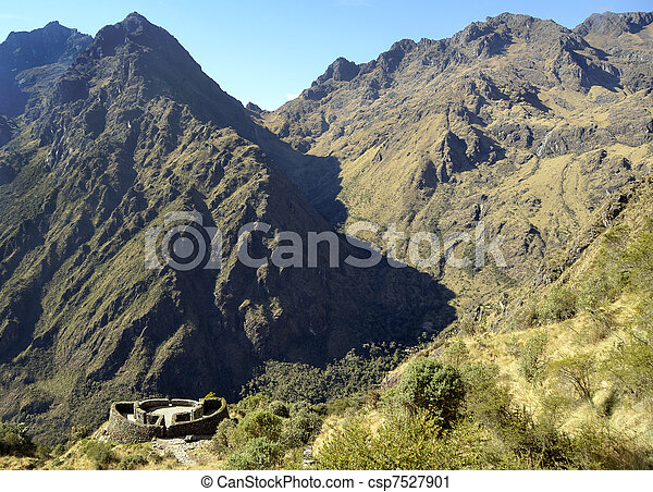 View of Runkuracay Ruins with Andes Range - csp7527901