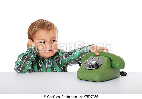 Boy awaits a phone call - csp7527955