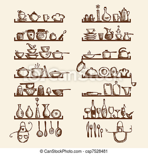 Kitchen utensils on shelves, sketch drawing for your design - csp7528481