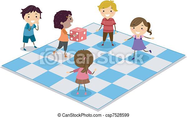 Kids Playing Dice - csp7528599