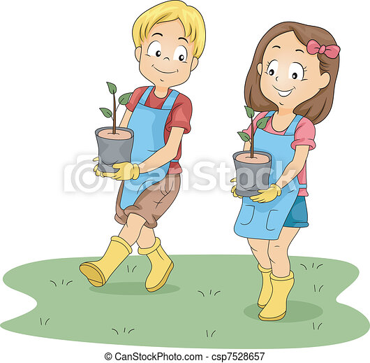 Kids Carrying Seedlings - csp7528657