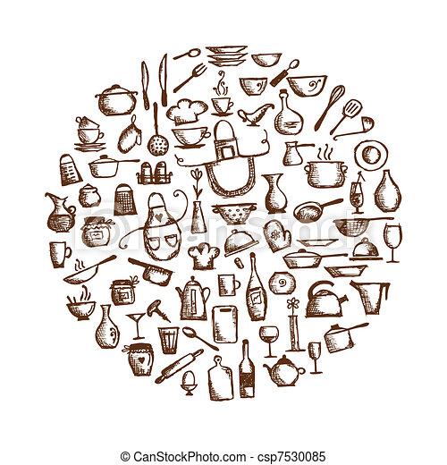 Vecteur clipart de cuisine ustensiles croquis dessin for Dessin cuisine