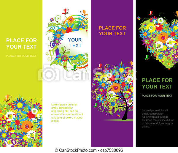 Summer floral banners vertical for your design - csp7530096