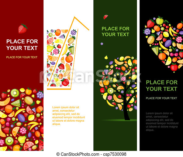 Fruits banners vertical for your design - csp7530098