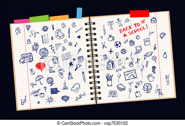 Sketches on page, concept of school for your design  - csp7530102