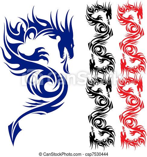 Asian tattoo dragon. - csp7530444