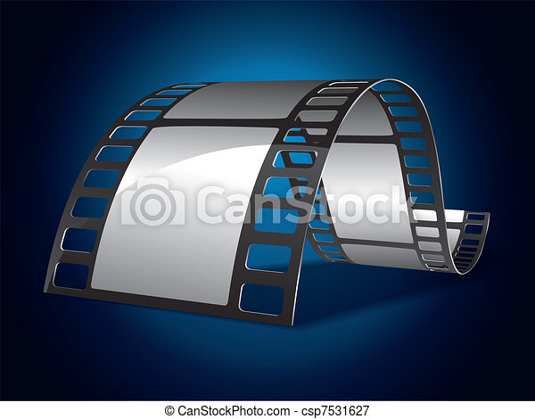 Film strip on blue background - csp7531627