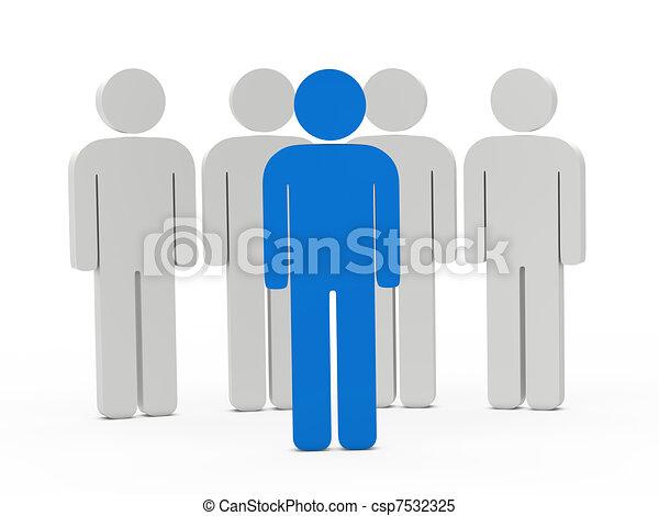3d man leadership blue - csp7532325