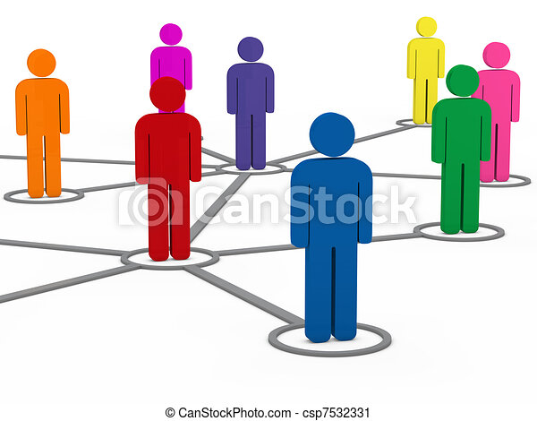 3d, communication, gens, réseau, social - csp7532331