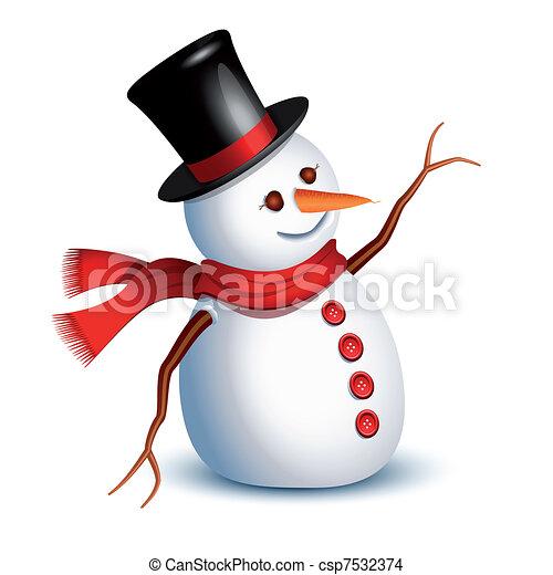 Vecteur eps de bonhomme de neige salutation heureux - Clipart bonhomme de neige ...