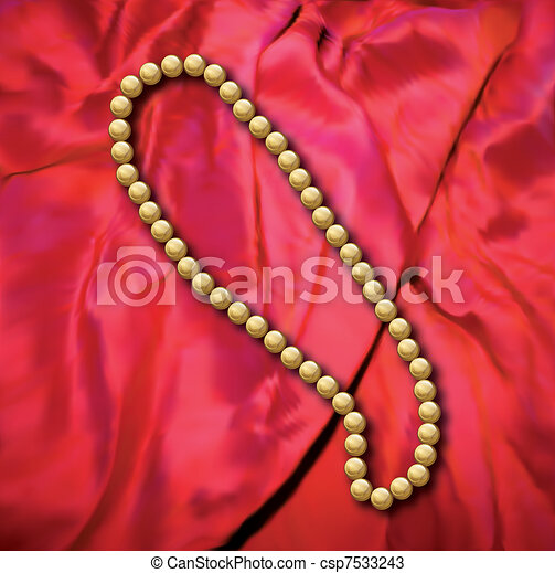 Pearls a necklace on a red fabric. Vector - csp7533243