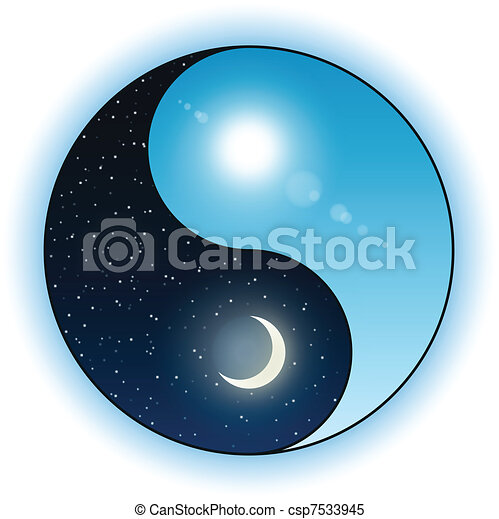 Sun and moon in Yin Yang symbol - csp7533945