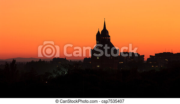 Wroclaw's Water Tower outline during the dusk, Poland - csp7535407
