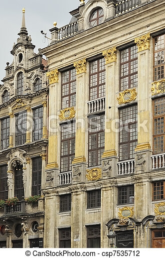 Stock photo of windows of maison ducs brabants detail of for Classic house facades