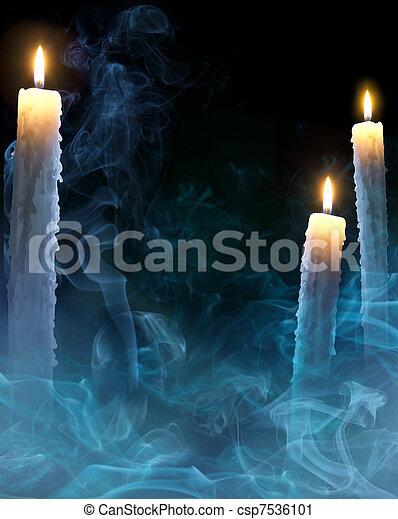 Candele,  Halloween, arte, fondo, festa - csp7536101