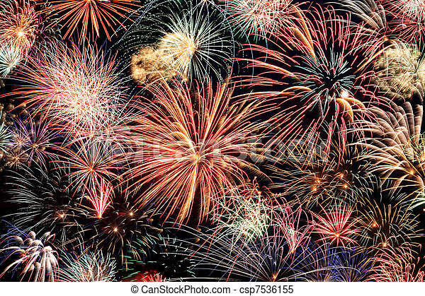Multicolored fireworks horizontal - csp7536155