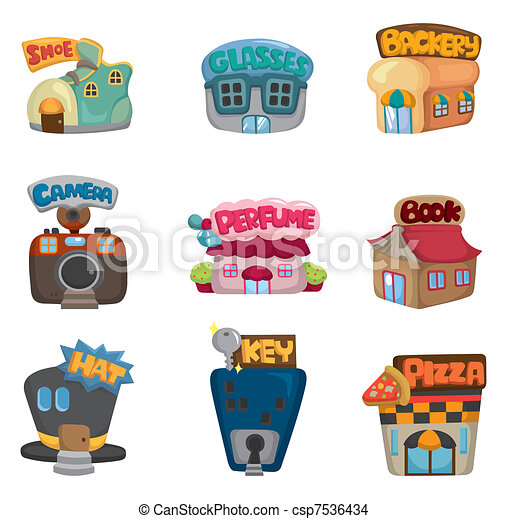 cartoon house / shop icons collection - csp7536434