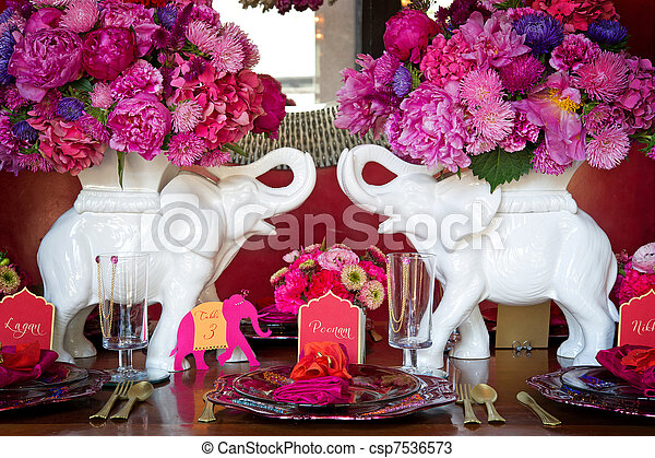 Place setting for Indian wedding - csp7536573