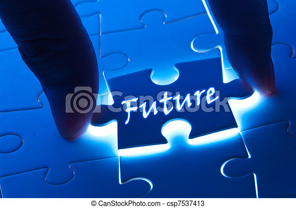 Future word on puzzle piece - csp7537413
