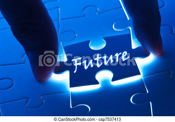 Future word on puzzle piece - csp7537413