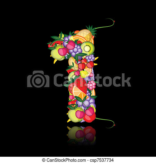 Number one made from fruits. See others in my gallery - csp7537734